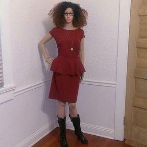 Red Peplum Top Dress